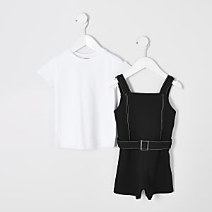 Mini girls black 2 in 1 playsuit