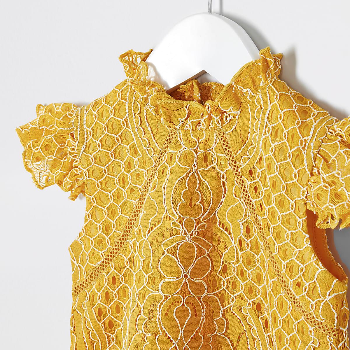 dadcb00bf3d Mini girls yellow lace top