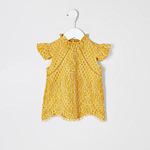 Top en dentelle jaune pour mini fille