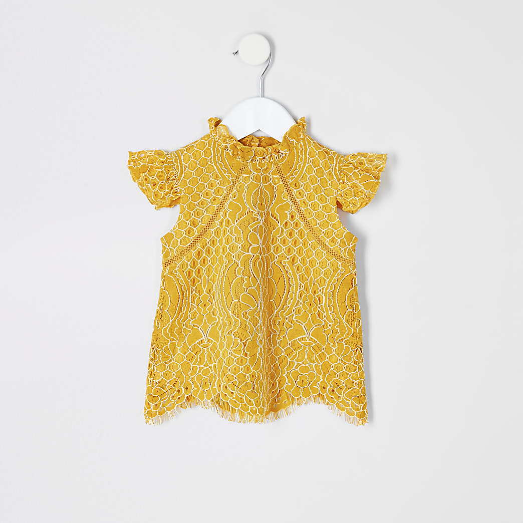 Mini girls yellow lace top