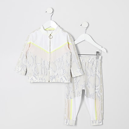 Mini girls RI Active beige snake track outfit