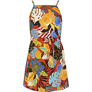 Oranges Kleid mit tropischem Print