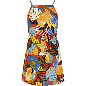 Robe imprimé tropical orange pour fille