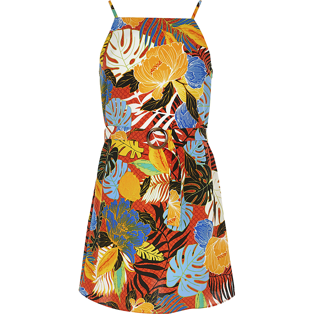 Girls orange tropical print slip dress