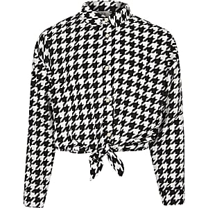 Girls black dogtooth check tie front shirt