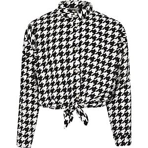 Zwart overhemd met pied-de-poulemotief en strik voor meisjes