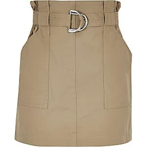 Kiezelkleurige rok met geplooide taille voor meisjes