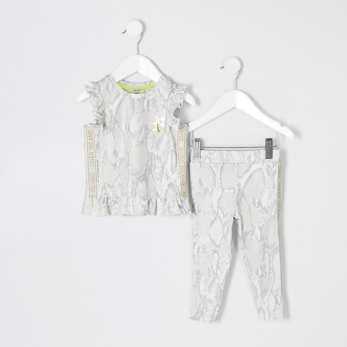 RI Active - Mini - Outfit met beige top met slangenprint voor meisjes