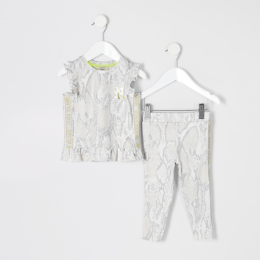 Mini girls RI Active beige snake top outfit