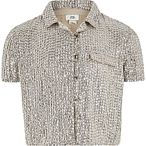 Girls silver sequin embellished shirt