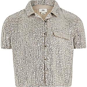 Zilverkleurig overhemd met lovertjes voor meisjes