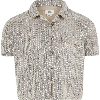 Girls silver sequin embellished shirt