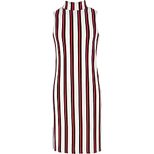 White stripe ribbed sleeveless dress