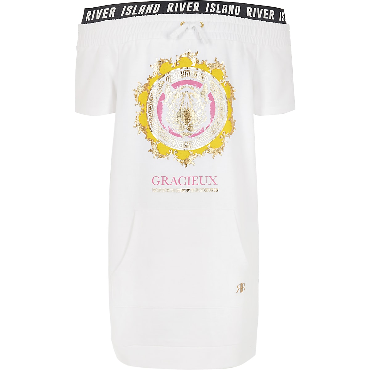 Girls white tiger print bardot T-shirt dress