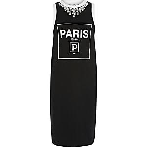 """Schwarzes Jerseykleid mit """"Paris""""-Schriftzug"""