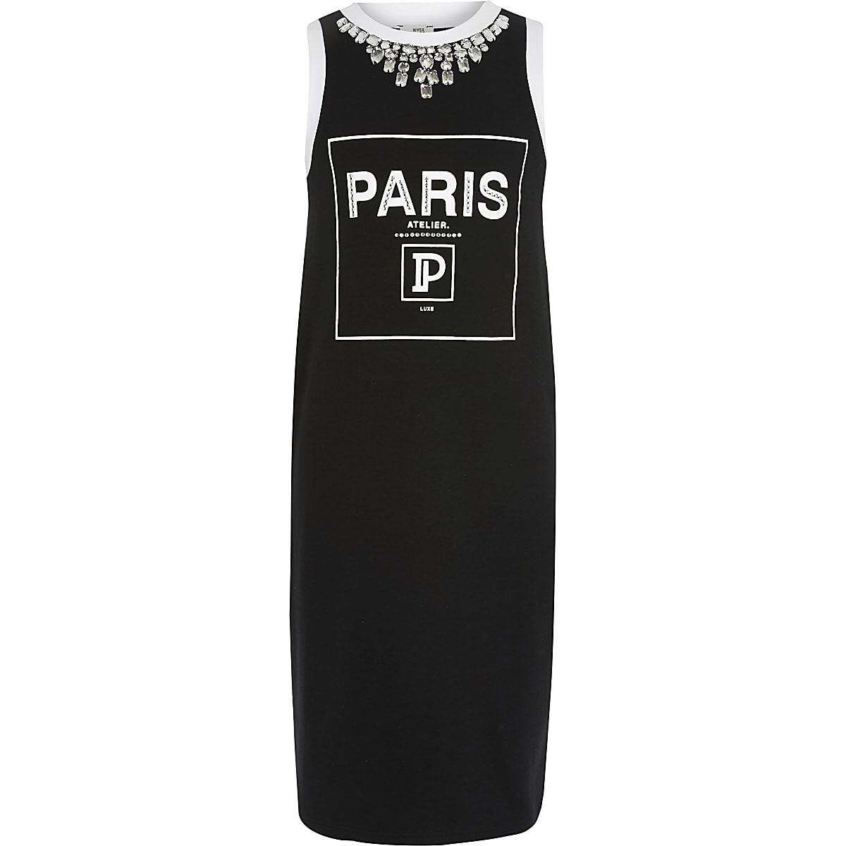 Girls black 'Paris' jersey dress