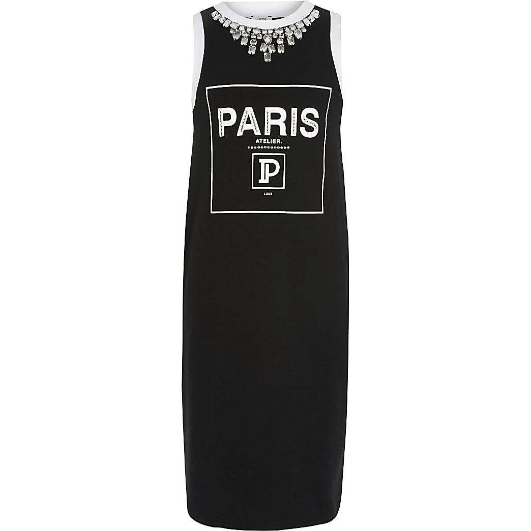 Girls black 'Paris' jersey dress