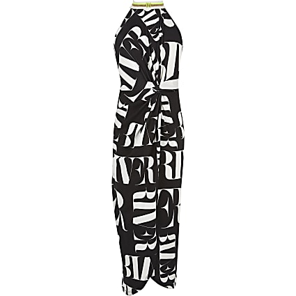 Girls monochrome RI print wrap maxi dress