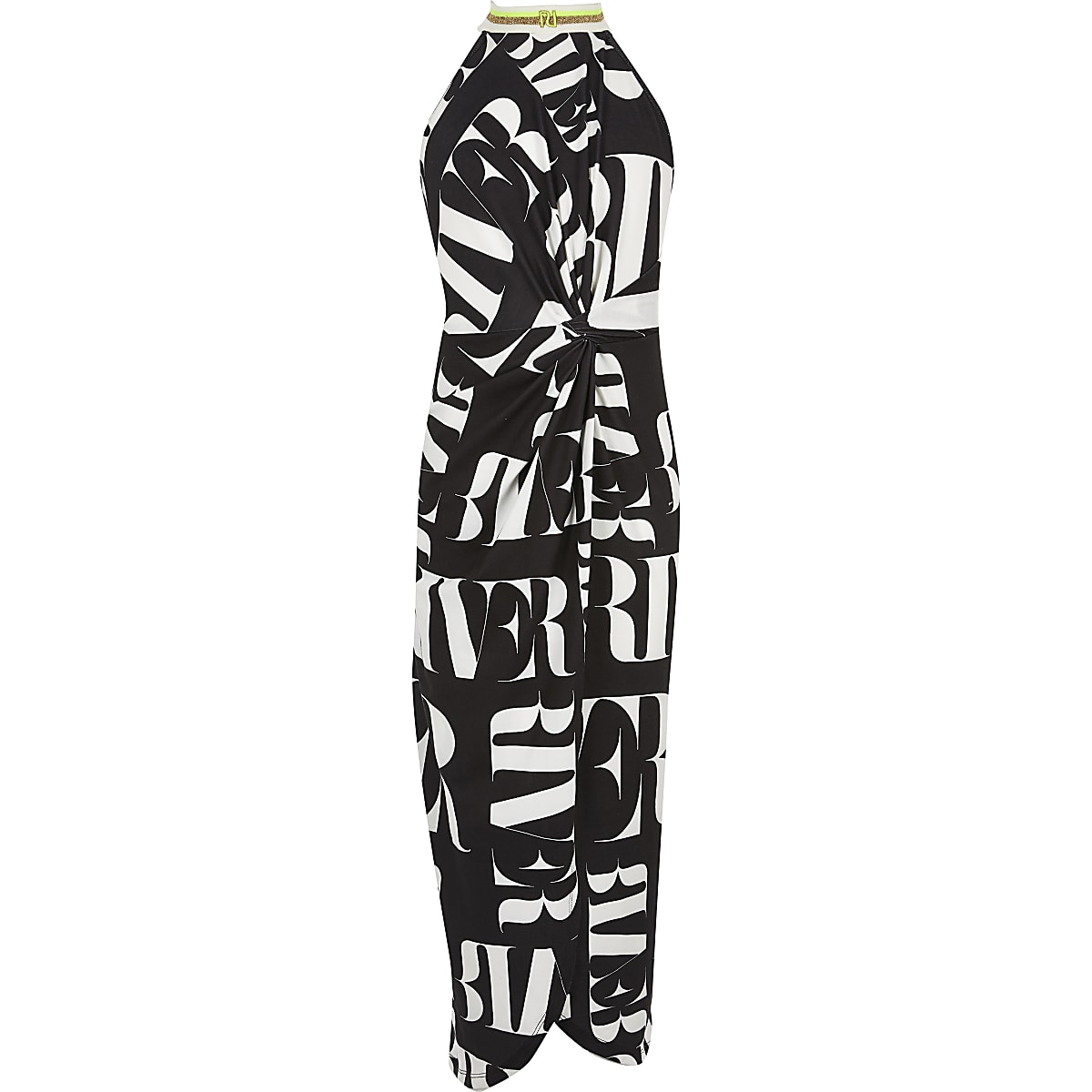 Girls monochrome RI print wrap maxi dress