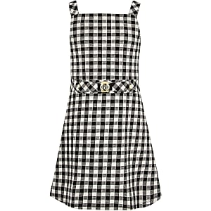 Girls black gingham pinafore dress