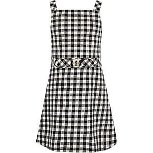 Girls black gingham pinafore dress
