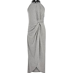 Girls grey knot front maxi dress