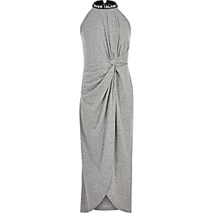 Girls grey knot front maxi dress