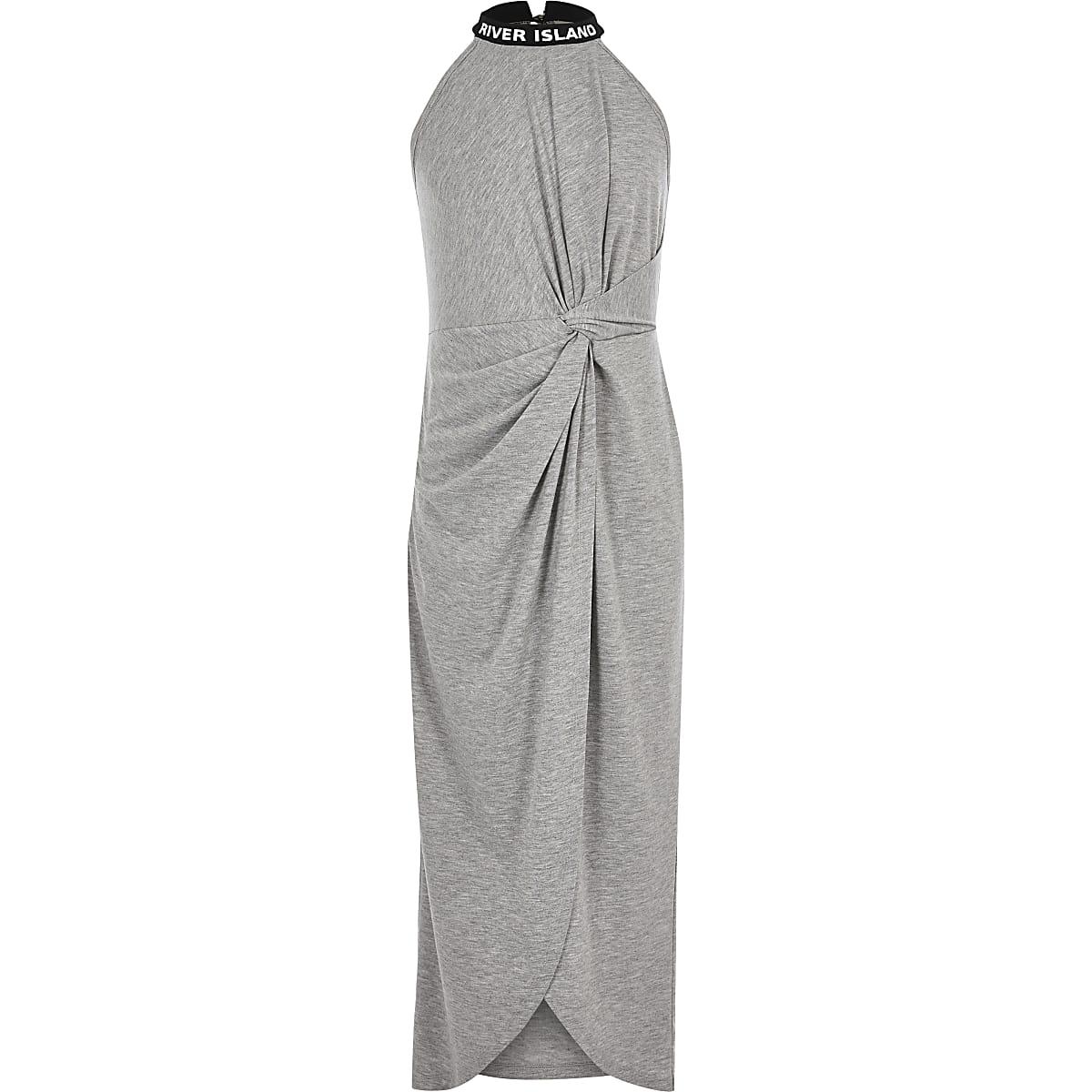 Grijze maxi-jurk met knoop voor meisjes