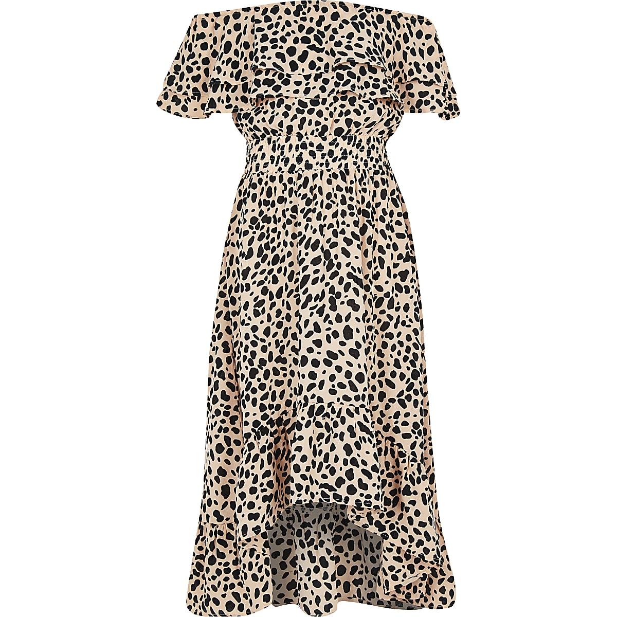 Girls beige spot print bardot maxi dress