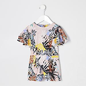 Pinker Overall mit tropischem Print