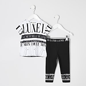 Mini girls white 'luxe' print T-shirt outfit
