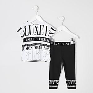 Ensemble avec t-shirt à imprimé « Luxe » blanc pour mini fille