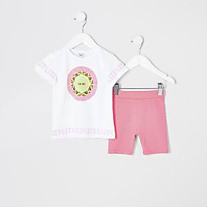 Mini girls white neon print T-shirt outfit