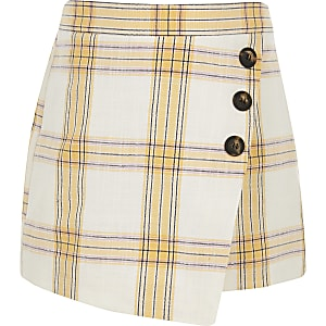 Girls cream check skort