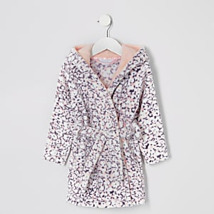 Robe de chambre violette à imprimé animal Mini fille