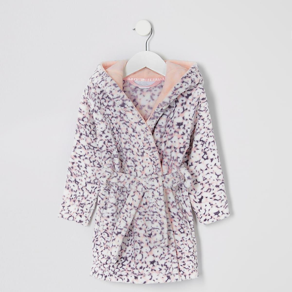 Mini girls purple animal print dressing gown