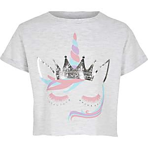 """Graues T-Shirt mit """"Einhorn""""-Motiv"""