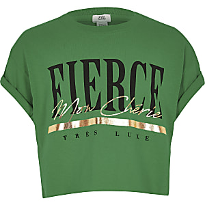 Girls green 'Fierce' print T-shirt
