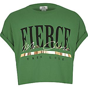 Groen T-shirt met 'Fierce'-print voor meisjes