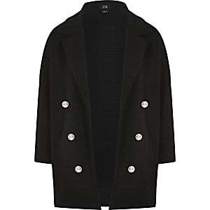 Girls black military blazer