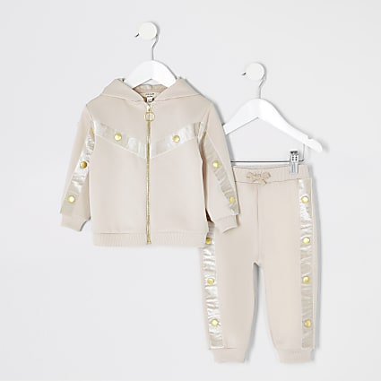 Mini girls RI Active beige tracksuit set