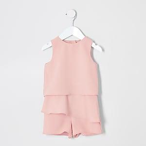 Mini - Roze playsuit met ruches voor meisjes