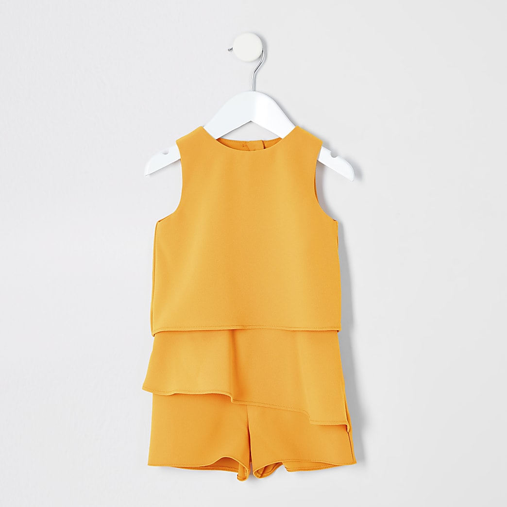 Mini girls yellow frill playsuit