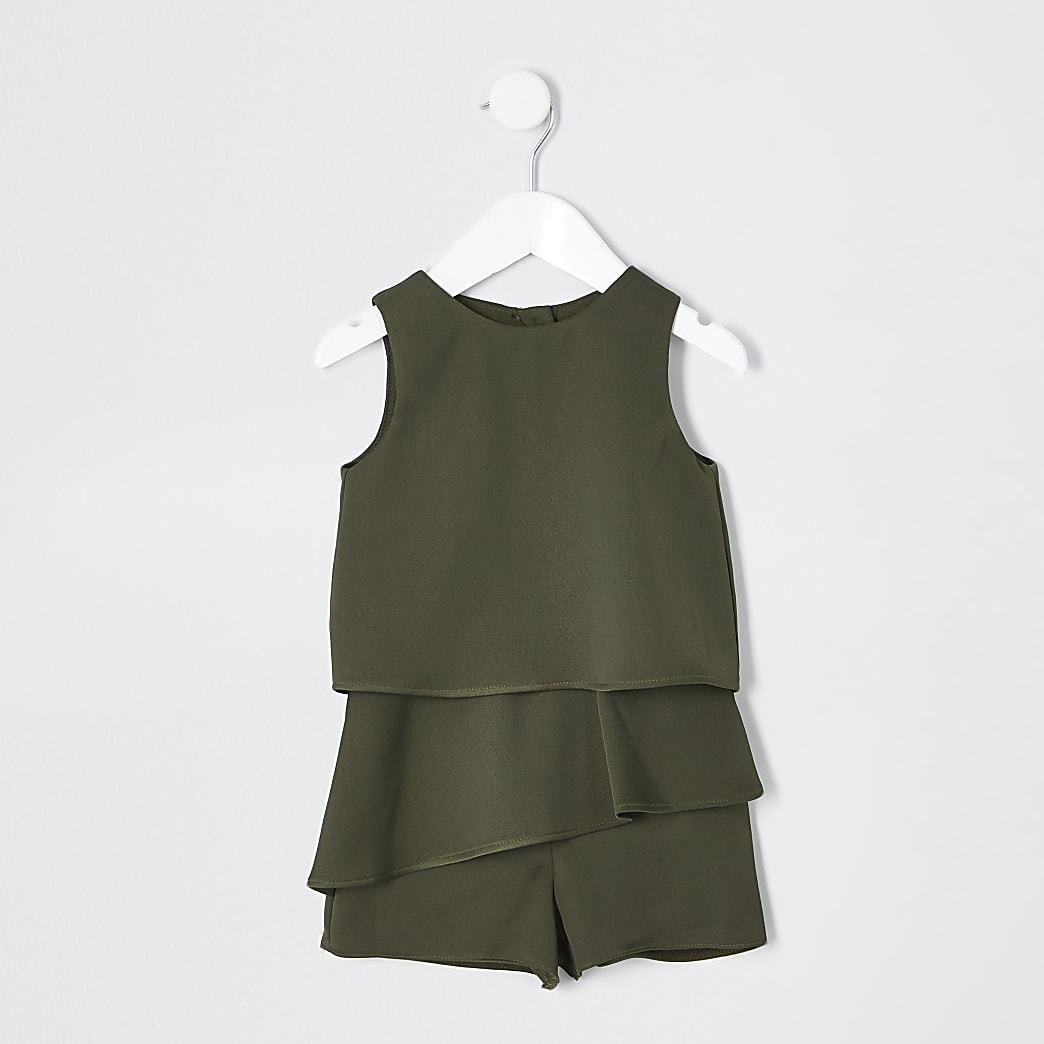 Mini girls khaki frill playsuit