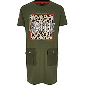 Kaki T-shirtjurk met print en pailletten voor meisjes