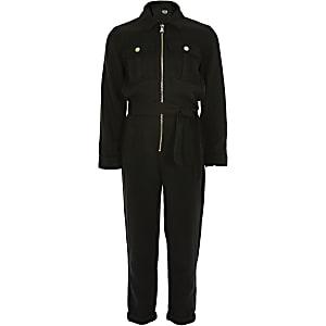 Zwarte utility jumpsuit voor meisjes