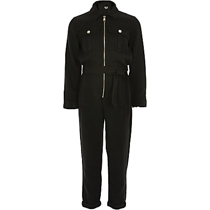 Girls black utility jumpsuit