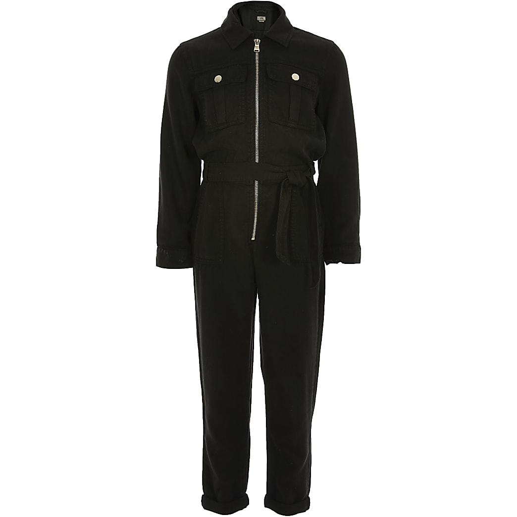 Girls black utility jumpsuit