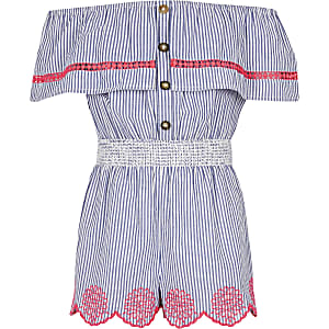 Girls blue stripe bardot playsuit