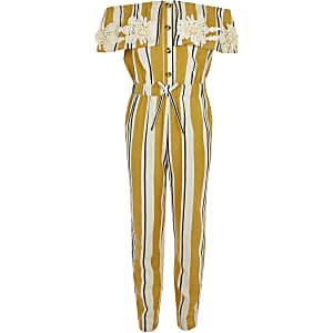 Gele gestreepte jumpsuit in bardotstijl voor meisjes